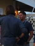 Jensen Ackles talks to Jared Padelecki before a performance at Bard on the Beach 2012