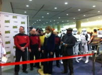 Gates McFadden and Levar Burton meet the crowd