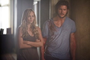 Elena (Laura Vandervoort) and Clay (Jeremy Danvers) not quite having a bloody good time