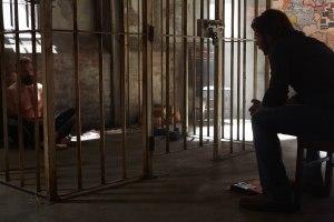 Clay (Greyston Holt ) interrogates Zachary Cain (Noah Danby)
