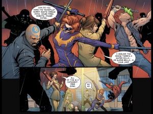 Lois and Nighwing take on the thugs. Art by Edgar Salazar