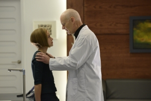 Tatiana Maslany as Rachel Duncan and Matt Frewer as Aldous Leekie