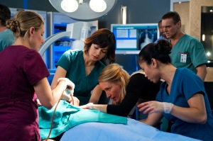 Maggie (Julia Taylor Ross), Dawn (Michelle Nolden), and Charlie (Michael Shanks)