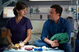 Julia Taylor Ross as Dr. Maggie Lin and Joris Jarsk as David Zarb