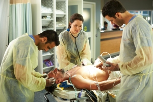 Huse Madhavji as Shahir Hamza, Erica Durance as Alex Reid, and Benjamin Ayers as Zach Miller