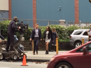 Behind the scene photo of this part of the episode. Rick Cosnett as Eddie Thawne and Candice Patton as Iris West