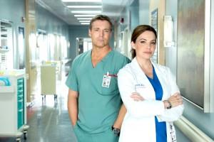 Michael Shanks as Dr. Charlie Harris and Erica Durance as Dr. Alex Reid