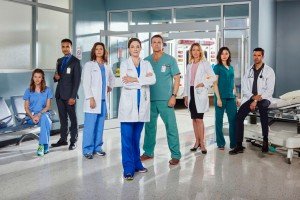 The Season 4 cast of Saving Hope (l to r): Kim Shaw as Dr. Cassie Williams, Huse Madhavji as Dr. Shahir Hamza, Wendy Crewson as Dr. Dana Kinney, Erica Durance as Dr. Alex Reid, Michael Shanks as Dr. Charlie Harris, Michelle Nolden as Dr. Dawn Bell, Julia Taylor Ross as Dr. Maggie Lin and Benjamin Ayres as Dr. Zach Miller