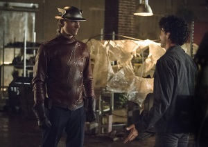 "The Flash -- ""Flash of Two Worlds"" -- Image FLA202A_0326b -- Pictured (L-R): Teddy Sears as Jay Garrick and Kett Turton as Eddie Slick -- Photo: Cate Cameron/The CW -- © 2015 The CW Network, LLC. All rights reserved."