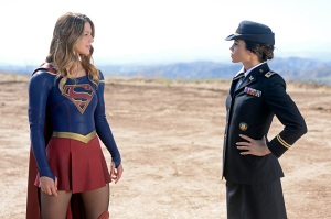 """""""Red Faced"""" -- Personal and professional stress get the better of Kara when she goes too far during a training exercise against Red Tornado, a military cyborg commissioned by Lucy Lane's father, General Sam Lane, on SUPERGIRL, Monday, Nov. 30 (8:00-9:00 PM, ET) on the CBS Television Network. Pictured left to right:  Melissa Benoist and Jenna Dewan-Tatum Photo: Darren Michaels/CBS ©2015 CBS Broadcasting, Inc. All Rights Reserved"""