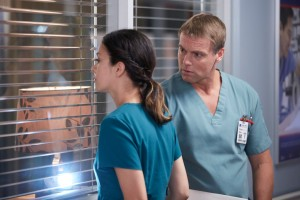 Julia Taylor Ross as Maggie Lin and Michael Shanks as Charlie Harris