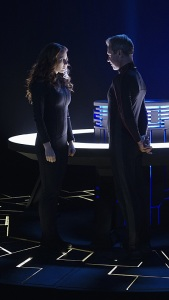 """Hostile Takeover"" -- Kara goes toe-to-toe with Astra when her aunt challenges Kara's beliefs about her mother, on SUPERGIRL, Monday, Dec. 14 (8:00-9:00 PM, ET/PT) on the CBS Television Network. Pictured left to right: Laura Benanti and Chris Vance Photo: Monty Brinton/CBS ©2015 CBS Broadcasting, Inc. All Rights Reserved"