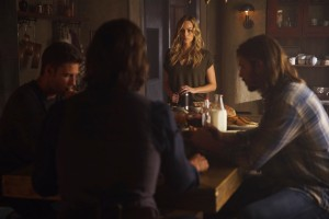 Clockwise: Greg Bryk as Jeremy Danvers, Steve Lund as Nick Sorrentino,   Laura Vandervoort as Elena Michaels, and Greyston Holt as Clay Danvers
