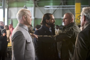 """DC's Legends of Tomorrow -- """"Pilot, Part 2"""" -- Image LGN102_20150917_0287b.jpg -- Pictured (L-R): Neal McDonough as Damien Darhk, Casper Crump as Vandal Savage and Dominic Purcell as Mick Rory/Heat Wave -- Photo: Diyah Perah/The CW -- © 2015 The CW Network, LLC. All Rights Reserved."""
