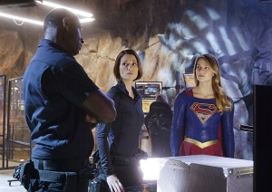 """Bizarro"" -- Kara faces off against her mirror image when Bizarro, a twisted version of Supergirl, sets out to destroy her, on SUPERGIRL, Monday, Feb. 1 (8:00-9:00 PM) on the CBS Television Network. Pictured left to right: David Harewood, Chyler Leigh and Melissa Benoist Photo: Monty Brinton/CBS ©2015 CBS Broadcasting, Inc. All Rights Reserved"