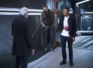"DC's Legends of Tomorrow -- ""White Knights"" -- Image LGN104A_0390b.jpg -- Pictured (L-R): Victor Garber as Professor Martin Stein, Arthur Darvill as Rip Hunter and Franz Drameh as Jefferson ""Jax"" Jackson -- Photo: Diyah Pera/The CW -- © 2016 The CW Network, LLC. All Rights Reserved."