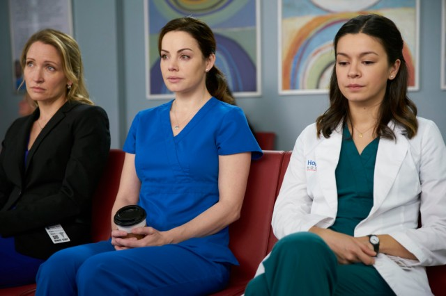 Michelle Nolden as Dawn Bell, Erica Durance as Alex Reid and Julia Taylor Ross as Maggie Lin