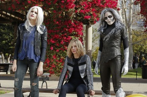 """Worlds Finest"" -- Kara gains a new ally when the lightning-fast superhero The Flash suddenly appears from an alternate universe and helps Kara battle Siobhan, aka Silver Banshee (Italia Ricci, right), and Livewire (Brit Morgan, left) in exchange for her help in finding a way to return him home, on SUPERGIRL, Monday, March 28 (8:00-9:00 PM, ET/PT) on the CBS Television Network. Also pictured: Calista Flockhart (center) Photo: Robert Voets/Warner Bros. Entertainment Inc. © 2016 WBEI. All rights reserved."