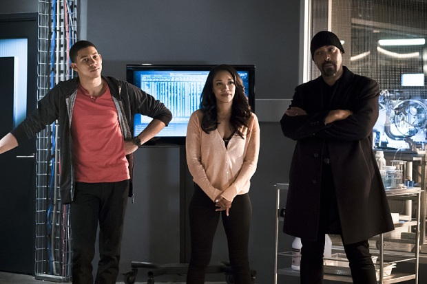 "The Flash -- ""The Race of His Life"" -- Image: FLA223a_0128b.jpg -- Pictured (L-R): Keiynan Lonsdale as Wally West, Candice Patton as Iris West and Jesse L. Martin as Detective Joe West -- Photo: Katie Yu/The CW -- © 2016 The CW Network, LLC. All rights reserved."