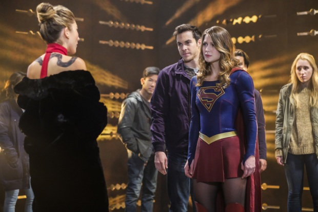"Supergirl -- ""Supergirl Lives"" -- Image SPG209b_0037.jpg -- Pictured: (L-R) Dichen Lachman as Roulette, Chris Wood as Mike/Mon-El and Melissa Benoist as Kara/Supergirl -- Photo: Robert Falconer/The CW -- © 2017 The CW Network, LLC. All Rights Reserved"