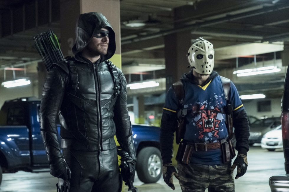 "Arrow -- ""Second Chances"" -- Image AR511b_0199b.jpg -- Pictured (L-R): Stephen Amell as Green Arrow and Rick Gonzales as Rene Ramirez/Wild Dog -- Photo: Katie Yu/The CW -- © 2017 The CW Network, LLC. All Rights Reserved."
