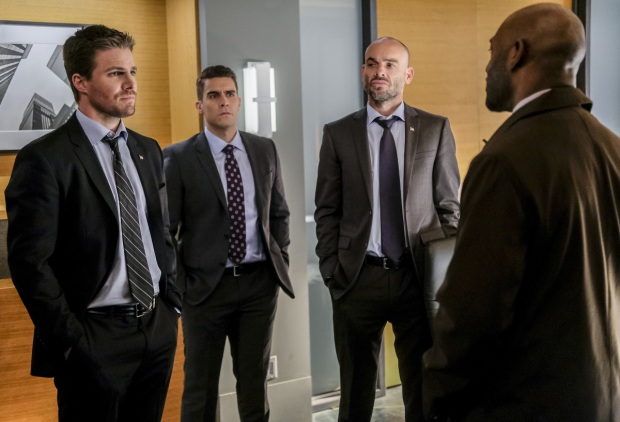 "Arrow -- ""The Sin-Eater"" -- Image AR514a_0083b.jpg -- Pictured (L-R): Stephen Amell as Oliver Queen, Josh Segarra as Adrian Chase, Paul Blackthorne as Quentin Lance and Adrian Holmes as Captain Frank Pike -- Photo: Robert Falconer/The CW -- © 2017 The CW Network, LLC. All Rights Reserved."
