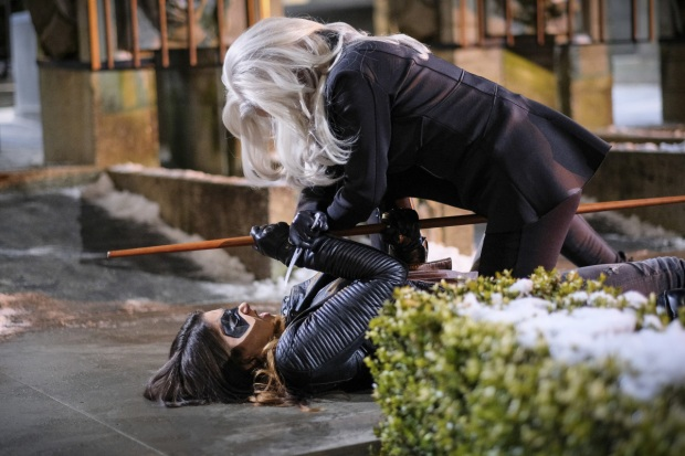 "Arrow -- ""The Sin-Eater"" -- Image AR514b_0132b.jpg -- Pictured (L-R): Juliana Harkavy as Tina Boland/Dinah and Kelly Hu as China White -- Photo: Robert Falconer/The CW -- © 2017 The CW Network, LLC. All Rights Reserved."