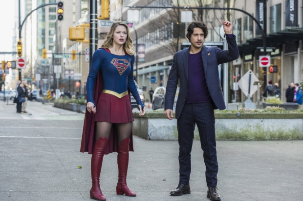 "Supergirl -- ""Mr. & Mrs. Mxyzptlk"" -- SPG213b_0039.jpg -- Pictured (L-R): Melissa Benoist as Kara/Supergirl and Peter Gadiot as Mr. Mxyzptlk -- Photo: Dean Buscher/The CW -- © 2017 The CW Network, LLC. All Rights Reserved"